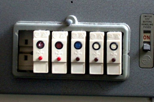 Old fashioned fusebox with on switch